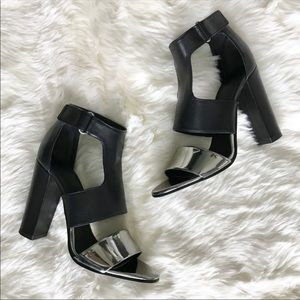 VINCE 7.5 gorgeous color block silver black heels